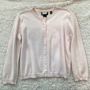 DKNY Pale Pink 3/4 Sleeve Cardigan Sweater